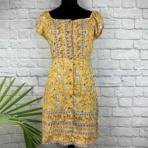 🌸Angie Yellow Floral Button Down Dress M